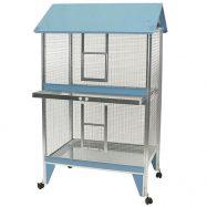 Viveiro exterior para aves rectangular com 2 pisos em chapa galvanizada. Tabuleiros removíveis com porta de segurança em plástico.