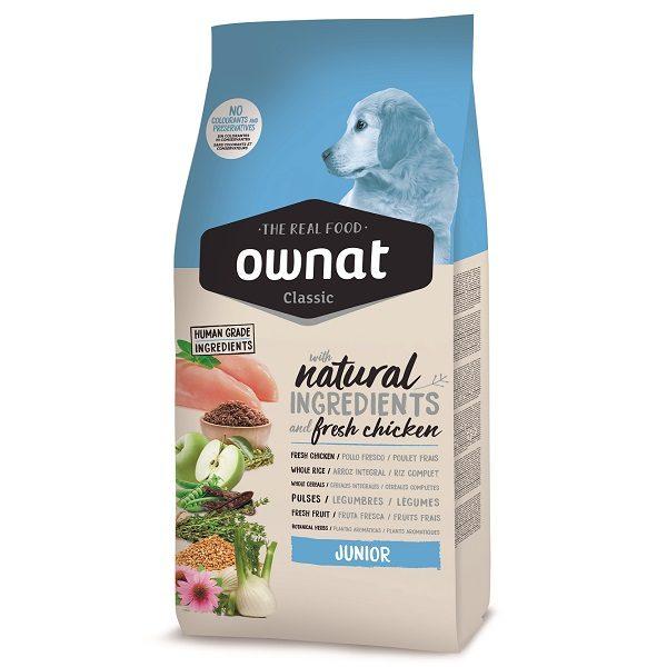 A ração OWNAT CLASSIC JUNIOR ração para cachorros de qualquer raça desde o fim da lactação até à idade adulta. Ingredientes naturais e frescos