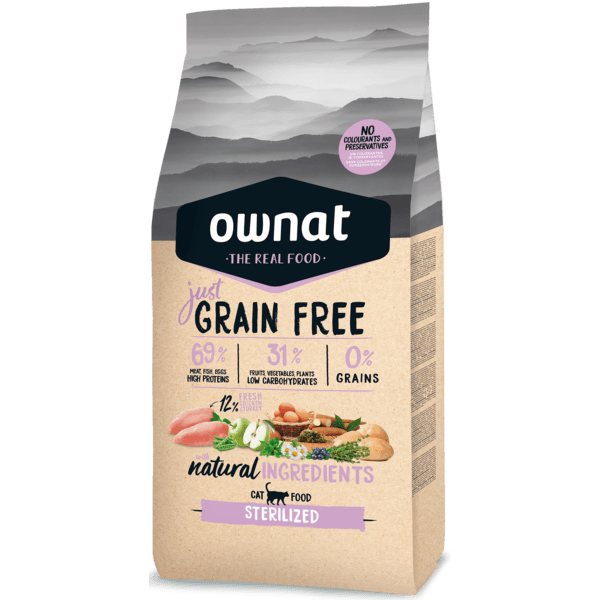 RAÇÃO OWNAT JUST GRAIN FREE STERILIZED GATO