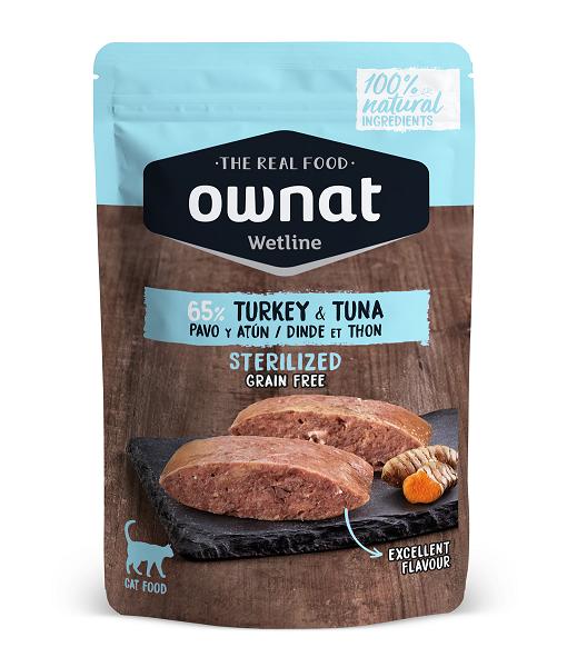 Ownat Wetline Sterilized é uma nova proposta de alimentação húmida GF para gatos feita com ingredientes 100% naturais. Carne e peixe fresco.