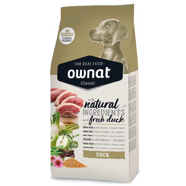 OWNAT CLASSIC DUCK para cães todas as raças em fase adulta, elaborada com pato fresco como fonte alternativa de proteína de grande apetência.