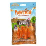 BENEVO Pawtato Blueberry Sticks são snacks vegan para cães em formato de sticks feitos de batata-doce e arroz, com recheio a mirtilo.