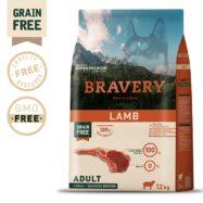 BRAVERY Lamb Adult Dog elaborada com carne de cordeiro que proporciona um elevado nível energético. Ração para cães adultos de raça grande.
